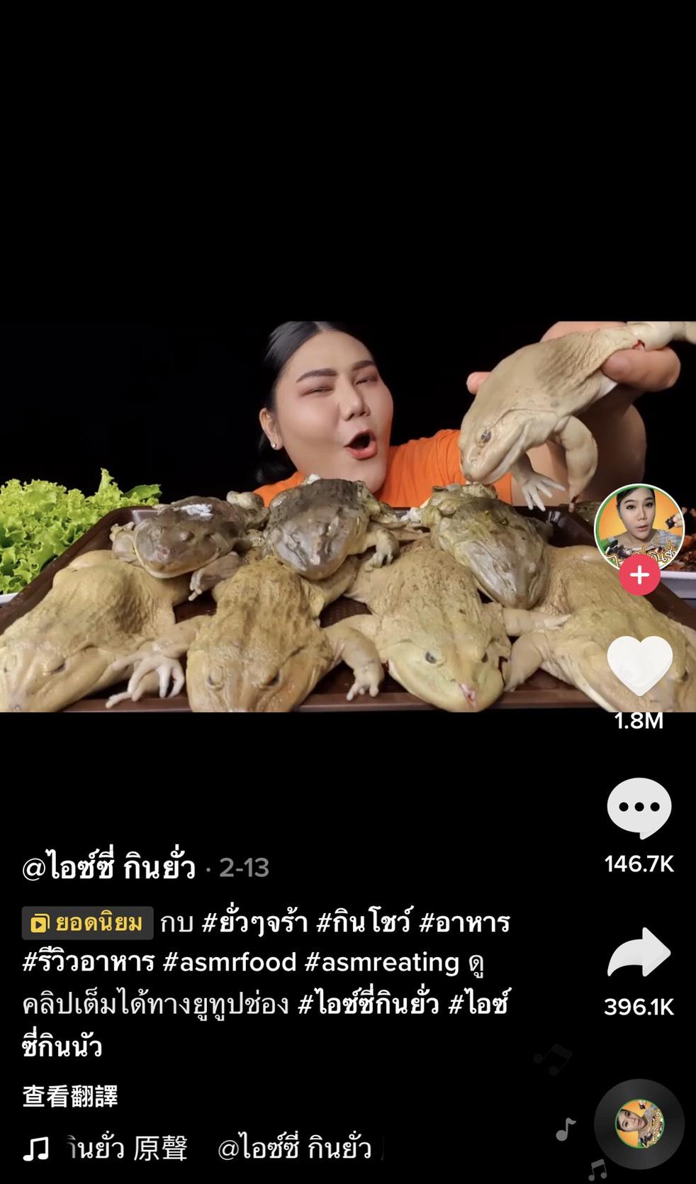 驚嚇!泰網紅吃播「水煮牛蛙」 百萬人嚇歪:不怕染病?