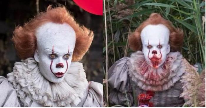 《牠》發布獨家幕後照片 小丑啃斷肢手臂血腥畫面好驚悚!