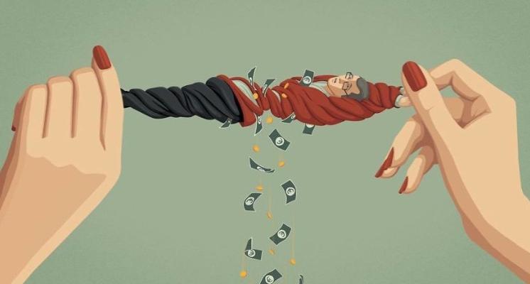 勢利女人榨乾了男人的錢!國外畫師用插畫繪出現代人的盲點 每一張都發人深省!