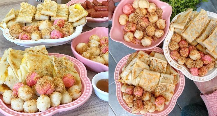 冷冷冬天就該吃湯圓!台南超人氣「炸湯圓蛋餅」紅白湯圓撒上花生粉真的超級誘人啊!