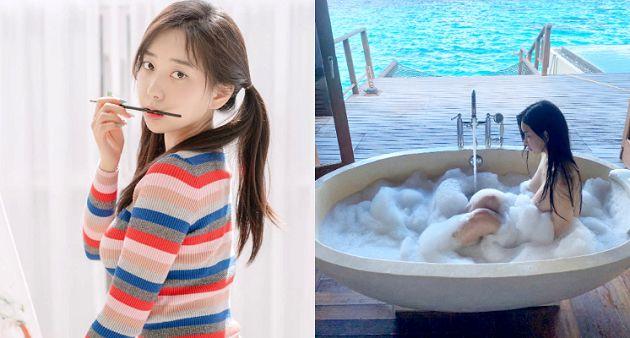 韓國清純網紅「野外泡湯」!胸前完全不遮:只靠泡泡遮住
